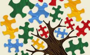 Cover of resource Dyslexia Booklet for Tertiary Practitioners. Cover shows multicoloured jigsaw pieces forming the leaves of a tree